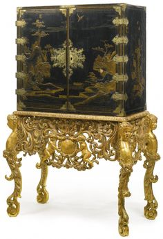A William and Mary parcel gilt black japanned cabinet on later giltwood stand circa 1690 Furniture Styles, Fine Furniture, Furniture Decor, Painted Furniture, Furniture Design, English Antique Furniture, Antique Furniture For Sale, Recycled Furniture, Antiques Value