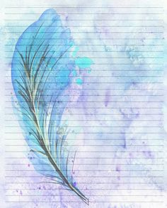 Printable Journal Page Blue Feather Digital Stationery