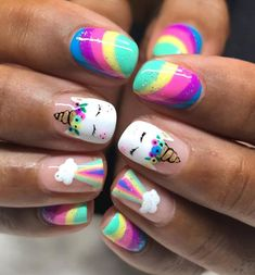 Nail Designs Unicorn Korean - fashion : unicorn nails for kids awesome ideas luxurious nail Unicorn Nails Designs, Unicorn Nail Art, Girls Nail Designs, Toe Nail Designs, Nails For Kids, Girls Nails, Little Girl Nails, Nagellack Trends, Nail Photos