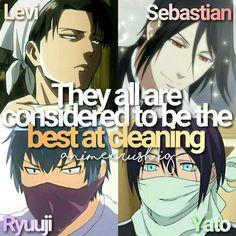 Levi / Attack on Titan - Sebastian / Black Butler - Ryuuji / Toradora - Yato / Noragami