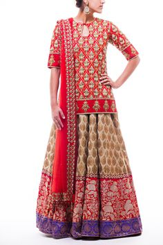 Long dupion silk red top with clear crystal highlighting and gold zardozi embroidery. Paired with a light olive green and gold banarsi lehenga with red and royal blue borders. Net red dupatta