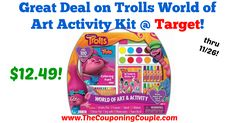 Awesome gift for a little one!  Great Deal on Trolls World of Art Activity Kit @ Target!  Click the link below to get all of the details ► http://www.thecouponingcouple.com/great-deal-on-trolls-world-of-art-activity-kit-target/ #Coupons #Couponing #CouponCommunity  Visit us at http://www.thecouponingcouple.com for more great posts!