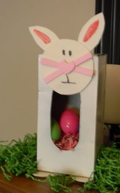 Easter rabbit instructions using tissue box even has a cotton ball tail.... could work for any animal.  Cute!