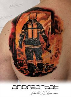 Amazing color scheme and fantastic intensity in this fire fighter motif by André Zechmann!