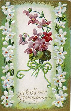 Such a sweetly darling vintage Easter greeting card featuring lovely forget-me-nots.