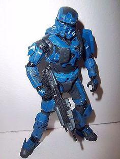 RARE! Halo Reach **BLUE SPARTAN EOD** McFarlane Figure 100% Complete w/ Weapon!