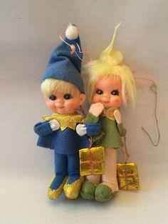 Christmas Elves Sprites Tree Ornaments Linked Arms Boy Girl Presents Japan VTG