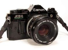 Canon AE-1 Program Black 35mm Film SLR + 50mm f1.8 Canon Lens, - Clean & working