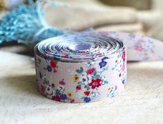 3 yds Grey grosgrain, Grey ribbon, Floral grosgrain, Floral ribbon, Ribbon, Hair craft ribbon, Packaging ribbon, Accessory ribbon, Grosgrain by SixthCraft on Etsy