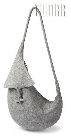 Bag.Felt - 100% wool. Handmade, solid-rolled. Technique - resist felting. Color: grey mélange. Catalogue: Going Wild, 2016. Tumar Art Group.