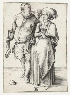 De kok en zijn vrouw, Albrecht Dürer, 1494  #PublicDomain  The cook and his wife, Albrecht Dürer, 1494 # Public Domain