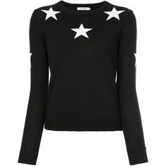 Guild Prime star intarsia jumper (35.365 HUF) ❤ liked on Polyvore featuring tops, sweaters, black, jumpers sweaters, star jumper, star print top, star sweater and jumper tops