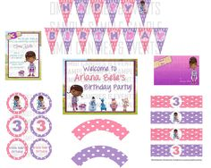 Doc McStuffins Birthday Party Package. $19.00, via Etsy. love the pink and purple polka dots.