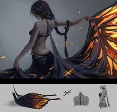 Butterfly by wlop Dress design for Aeolian. Will provide 4K wallpaper, PSD file and painting process video on my Patreon:www.patreon.com/wlop