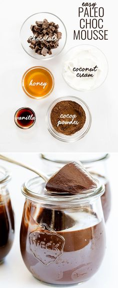 Paleo Chocolate Mousse Smooth and creamy paleo gluten free chocolate mousse, made with chocolate, coconut cream, cocoa powder, honey and vanilla. Just blend it and let it set! Paleo Dessert, Gluten Free Desserts, Healthy Desserts, Gluten Free Recipes, Dessert Recipes, Paleo Food, Gourmet Desserts, Easy Desserts, Vegan Recipes