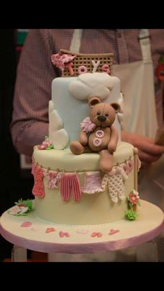 Baby Shower Cake - very ambitious Baby Cakes, Baby Shower Cakes, Cupcake Cakes, Beautiful Cakes, Amazing Cakes, Teddy Bear Cakes, Novelty Cakes, Love Cake, Cute Cakes