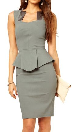 made2envy Bodycon Midi or Mini Peplum Dress with Square Neckline (L, Grey/Knee Length)