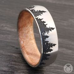 Intricately crafted, this laser etched, comfort-fit men's band carefully depicts the mystique and beauty of forestry across blackout satin finished Cobalt Chrome, while incorporating an inner sleeve of Boxelder Burl wood. Proudly made in the USA. Tree Wedding, Wedding Men, Forest Wedding, Fall Wedding, Wedding Bands, Hunting Wedding, Wedding Ideas, Wedding Things, Kobalt