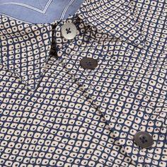 Paul Smith Men's Shirts | Indigo-Dyed Ikat Print Shirt