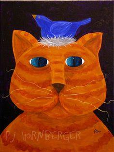 PJ Hornberger.com: Fat Orange Cat folk Art painting with a blue bird