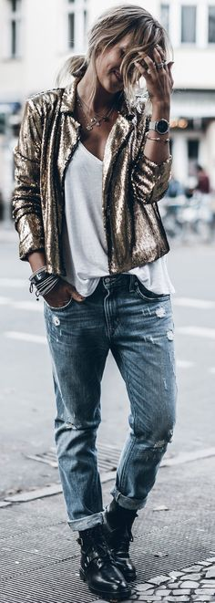 #fall #trending #outfits | Gold Sequins + Basics