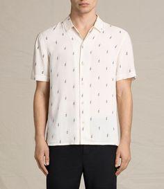 Allsaints Cygnus Slim Fit Button-Down Shirt Ecru White Size m - Shirts (Button Ups) for Sale - Grailed