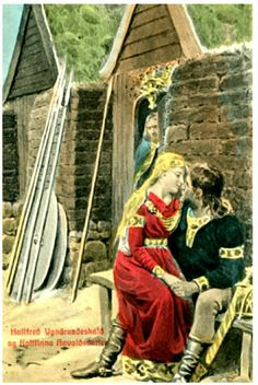 BLOCH, ANDREAS. Hallfred Ugndraadeskald og Kollfinna AnvaldsdatterÅrstall:1910 Utg J.F. Norse Pagan, Poster, Painting, Postcards, Painting Art, Paintings, Painted Canvas, Billboard, Drawings