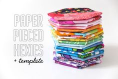 paper pieced hexies template