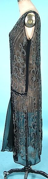 c. late 1920's Flapper Dress of Clear Beading on Black Chiffon. Sideways