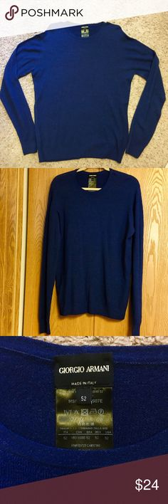 💙GIORGIO ARMANI COBALT BLUE LONG SLEEVE SWEATER! Gorgeous shade of blue Armani fine weight long sleeve sweater! Very lightly used. Excellent condition. Made in Italy. Size 52 but very lightweight. Hand wash. #COM.PS01-20132-10949-52.                        Style # MSM28M MS07E Giorgio Armani Sweaters Crewneck
