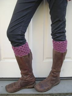 Crochet Boot cuffs Dusty rose boot toppers