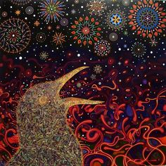 Animalarium: Intricate Seductions the psychedelic paintings of Southern California artist Fred Tomaselli. His layered, detailed works combine paint with an assemblage of materials including medicinal herbs,  hallucinogenic plants, pharmaceutical pills and images cut from books and magazines pasted on wood panels  and suspended in thick gleaming layers of resin.