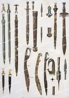 Greek Military. - (Top) evolution of the swords: (fr.l.to r.) bronze, late Mycenaean, c.1200 BC; iron, c.820 BC; iron, c.500 BC. / (bottom) Macedonian weapons: sword (kopis) with bird-shaped handle; spear heads. -