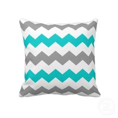Turquoise and Grey Chevron Throw Pillow by sweeticedtea