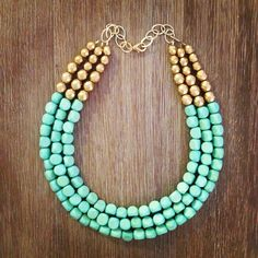 Gorgeous Mint and Gold Statement Necklace. $58.00, via Etsy.