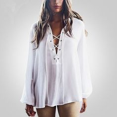 Spring Fashion For Women Casual Shirt White Long Sleeves Blouse Sex V-Neck Loose long drawstring Wild Was Thin Blouse M-297 Like and Share if you agree! Visit our store