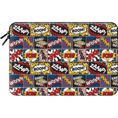 Macbook Sleeve - Modern Comic Book Superhero Pattern Color Colour... ($60) ❤ liked on Polyvore featuring accessories, tech accessories, macbook sleeve and comic book