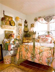 """Beautiful """"art panel"""" bed from the mid 1800's blends perfectly with the surrounding floral theme."""