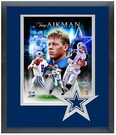 """Troy Aikman - 11"""" x 14"""" Framed & Matted """"Portrait Pluses Photo Montage"""""""