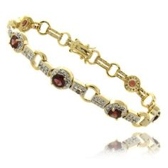 18k Gold Overlay 3.50 Carat TW Garnet Link Bracelet LEAH HANNA. $19.99. Secures with a Box Clasp. Crafted of Highly Polished 18k Gold Overlay. Beautiful Bracelet Suitable for all Occasions. Save 50% Off!