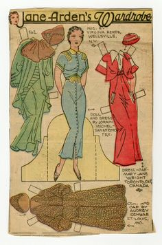 78.2355: Jane Arden's Wardrobe | paper doll | Paper Dolls | Dolls | Online Collections | The Strong