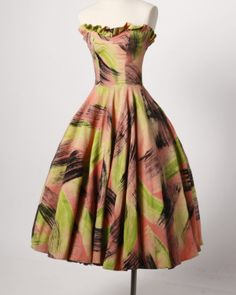 1950's Hand Painted Neon Dress and Wrap by Maya de Mexico