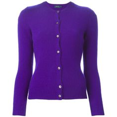 Polo Ralph Lauren Round Neck Cardigan (245 CAD) ❤ liked on Polyvore featuring tops, cardigans, polo ralph lauren, polo ralph lauren cardigan, purple top, round neck cardigan and round neck top