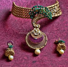 Exclusive Gold Designer Choker Set Collections, Latest Model Gold Antique Choker Collections.