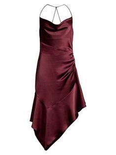 Parker Black Edyth Asymmetric Satin Dress In Maroon Parker Black, Satin Midi Dress, Satin Fabric, Girly, One Piece, Sexy, Swimwear, Cowl Neck, Shopping