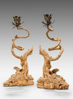 Pair of George III Carved Giltwood and Wrapped Wire Candlesticks English Antique Furniture, Sydney, Woodlands Cottage, Rococo Style, Antique Shops, Candlesticks, Art Decor, Fine Jewelry, Objects