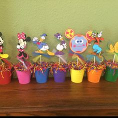 Items similar to Mickey Mouse Clubhouse Theme Centerpiece Stick Set of 6 With Mickey Minnie Daisy Donald Pluto Goofy on Etsy Mickey Mouse Clubhouse Birthday Party, Mickey Party, Minnie Mouse Party, Mouse Parties, 1st Birthday Parties, Half Birthday, Birthday Ideas, Mickey Minnie Centerpieces, Birthday Party Centerpieces