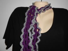Violet and gray lacy scarflette//accessories//gift for her//Christmas gift by CrochetByTeresa on Etsy