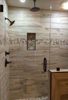 80 stunning tile shower designs ideas for bathroom remodel - Dusche Tan Bathroom, Rustic Master Bathroom, Small Bathroom With Shower, Master Bathroom Shower, Bathroom Ideas, Modern Bathroom, Rustic Bathroom Shower, Shower Ideas, Bathroom Showers