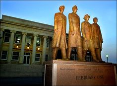 The Greensboro Four Memorial on the campus of N.C. A State University in Greensboro